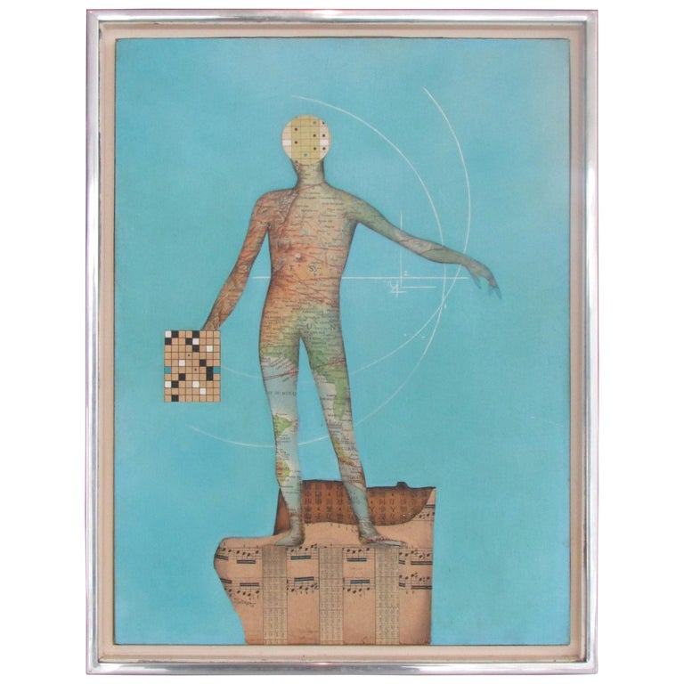 Modernist Collage Art Map Man on Musical Score with Blue Field Dated 1962 For Sale