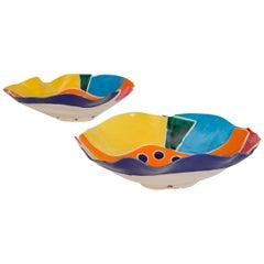 Modernist Collage Studio Pottery Bowls