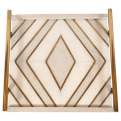 Modernist Concentric Diamond Form Shagreen and Brass Inlay Tray by Kifu, Paris