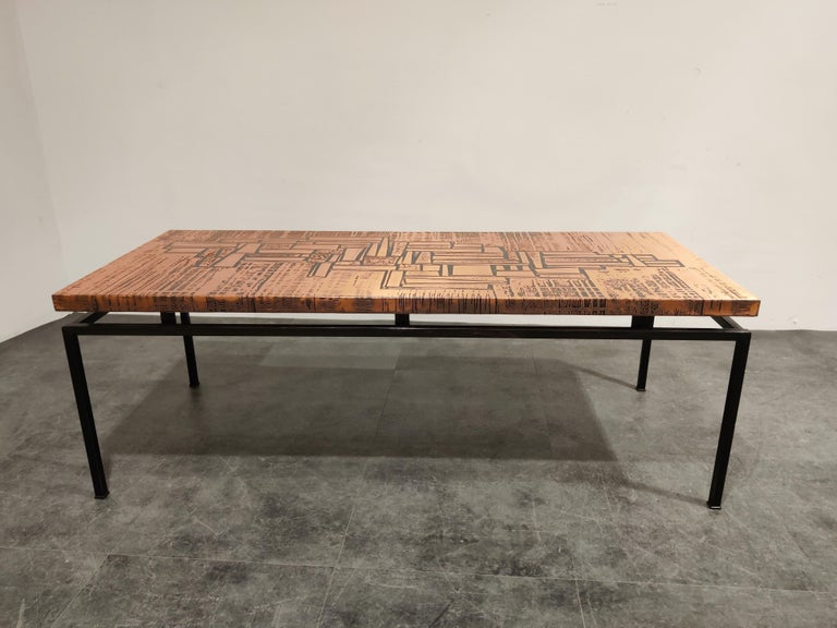 Mid-Century Modern Modernist Copper Coffee Table, 1960s For Sale