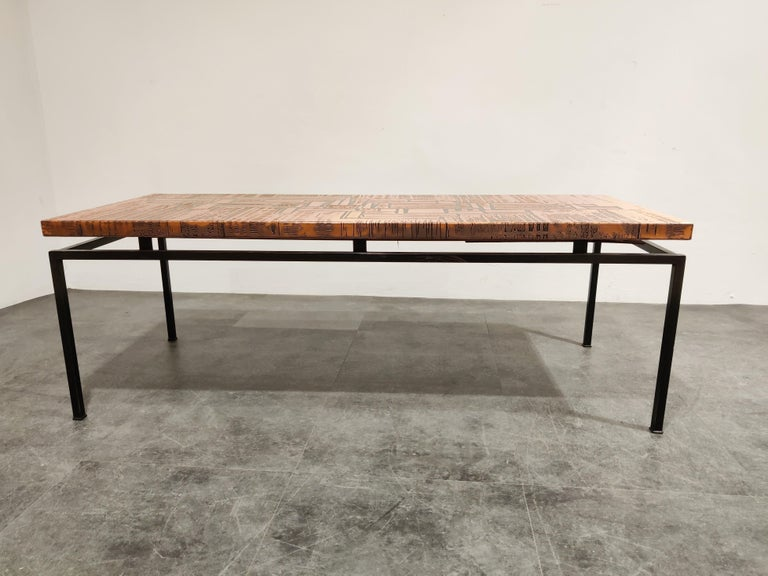 German Modernist Copper Coffee Table, 1960s For Sale