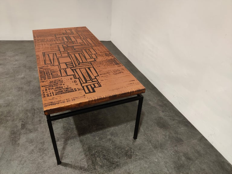 Modernist Copper Coffee Table, 1960s In Good Condition For Sale In Ottenburg, BE