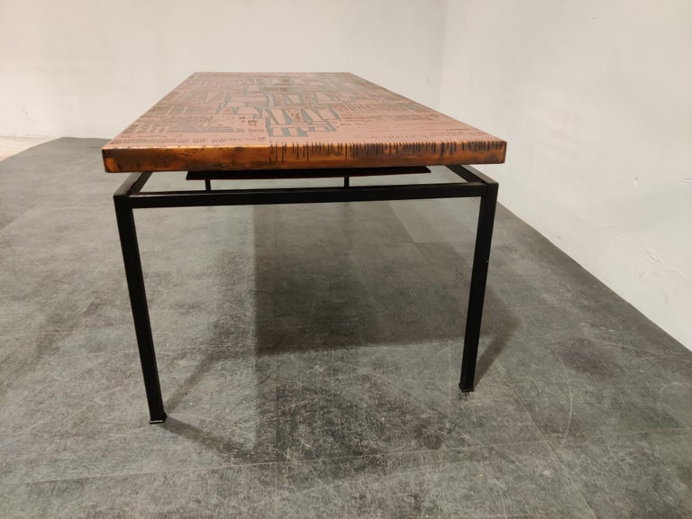 Mid-20th Century Modernist Copper Coffee Table, 1960s For Sale