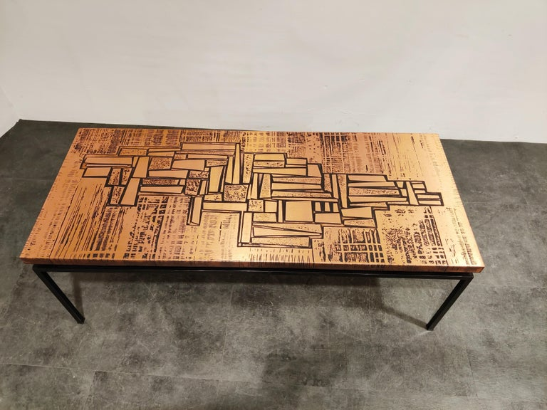Modernist Copper Coffee Table, 1960s For Sale 3