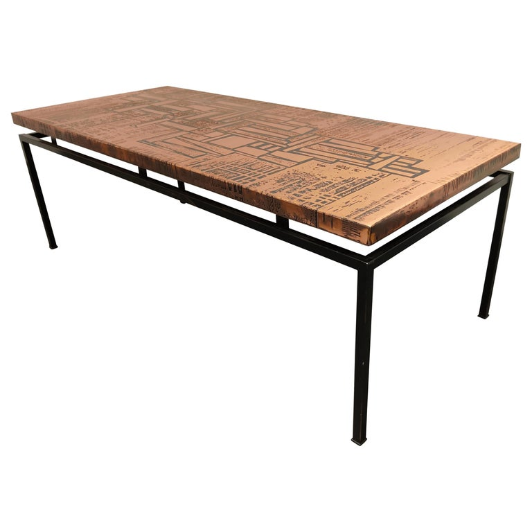 Modernist Copper Coffee Table, 1960s For Sale