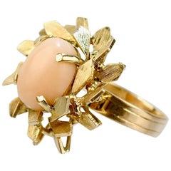 Modernist Coral and 14 Karat Gold Floral Cocktail Ring