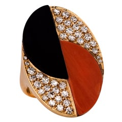 Modernist Coral, Diamond and Onyx Ring