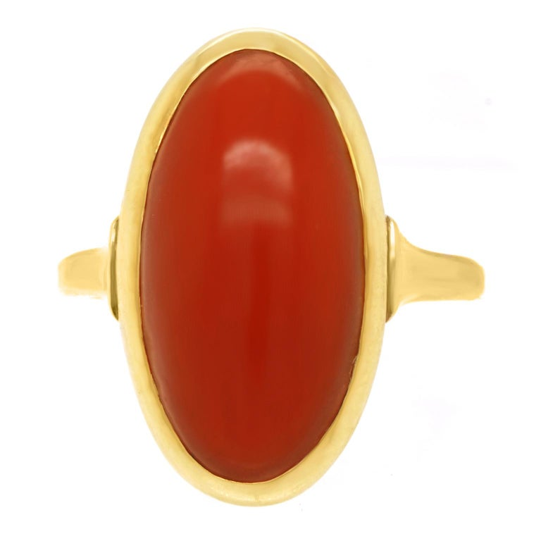 Modernist Coral-Set Gold Ring For Sale 4