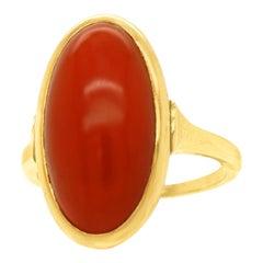 Modernist Coral-Set Gold Ring