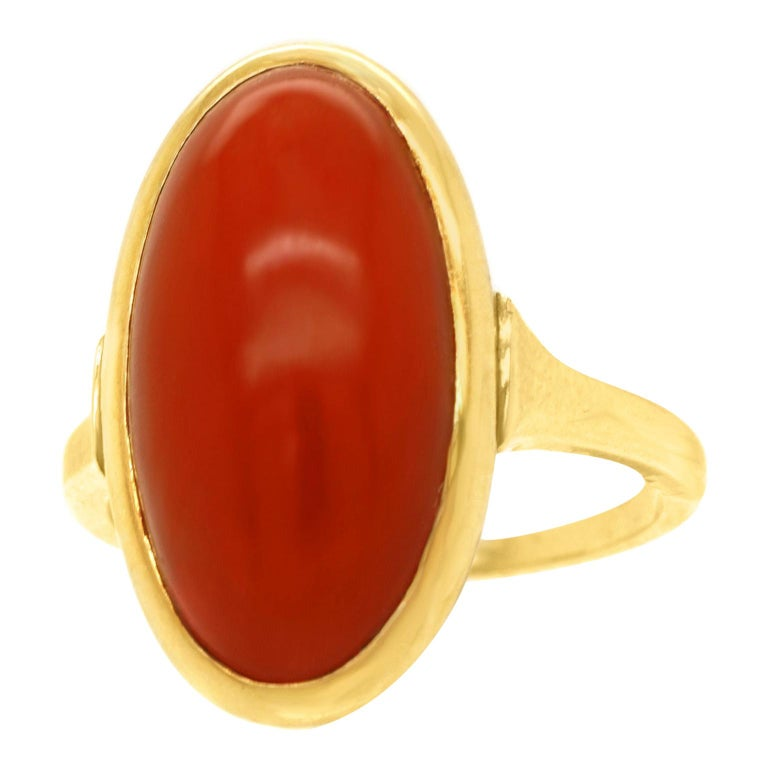 Modernist Coral-Set Gold Ring For Sale