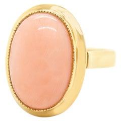 Modernist Coral Set Gold Ring