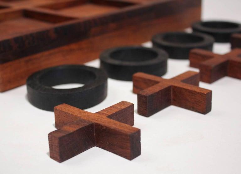 Modernist Craftsman Studio Tic Tac Toe Sculptural Carved Rosewood Wood Game For Sale 2