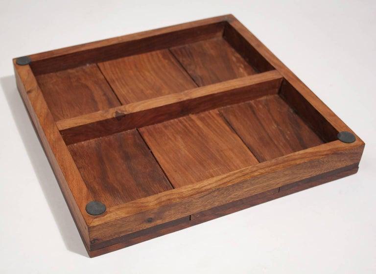 Modernist Craftsman Studio Tic Tac Toe Sculptural Carved Rosewood Wood Game For Sale 3