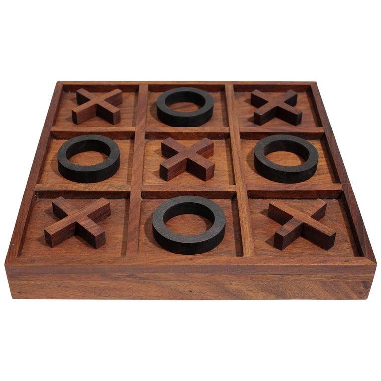 Modernist Craftsman Studio Tic Tac Toe Sculptural Carved Rosewood Wood Game For Sale