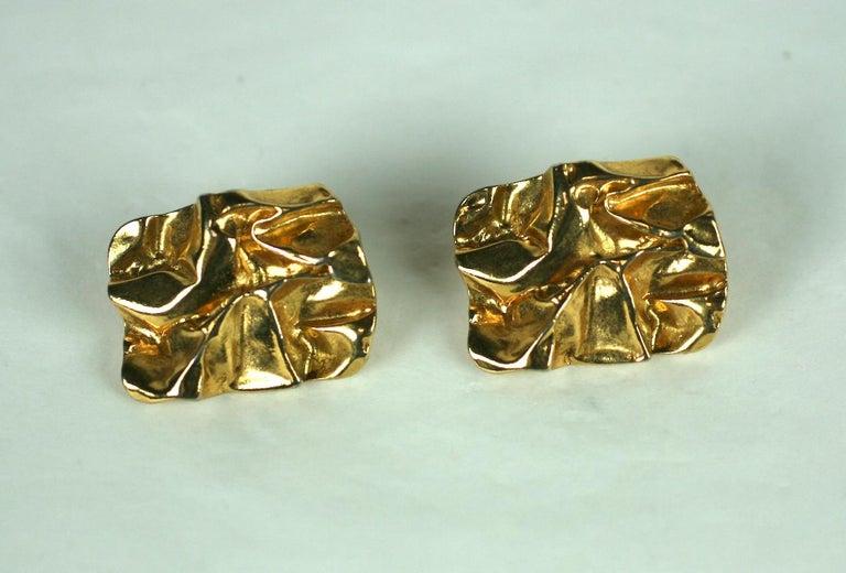 Modernist Crushed Metal Earrings. Cool