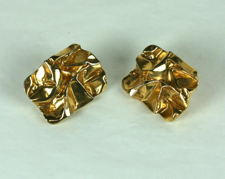 Modernist Crushed Metal Earrings In Excellent Condition For Sale In Riverdale, NY