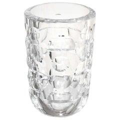Modernist Crystal Glass Vase by Mona Morales Schildt for Orrefors Signed