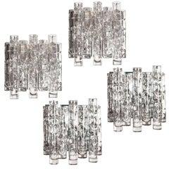 Modernist Crystal Tube Sconces