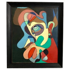 """Modernist Cubist Painting Titled """"Philosopher"""" Dated 1958 by Peter Paul Sakowski"""