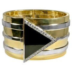 Modernist Cuff in 14K Gold, Onyx, and Diamonds