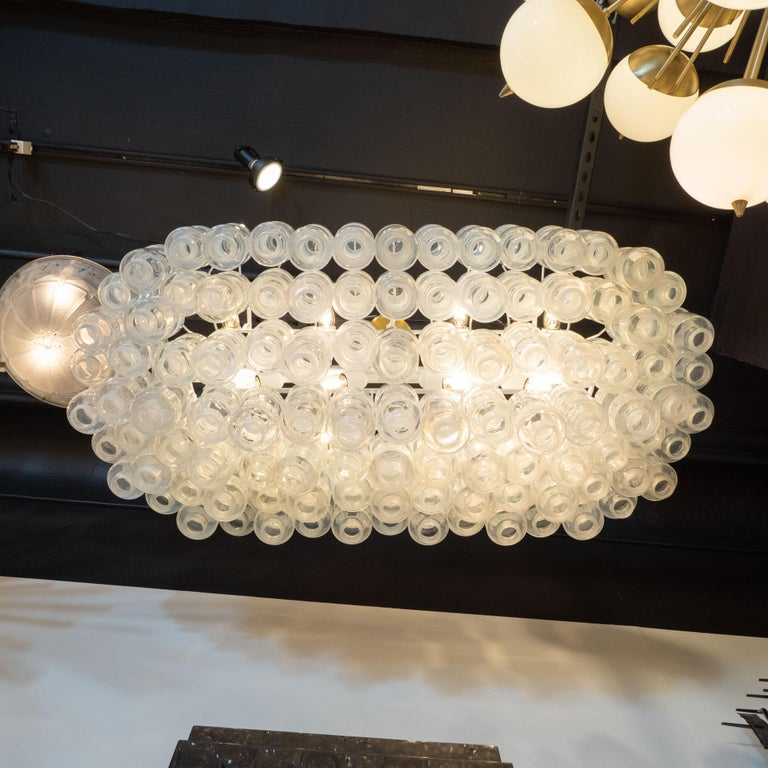 Contemporary Modernist Custom Oblong Barbell Chandelier in Opalescent Hand Blown Murano Glass For Sale