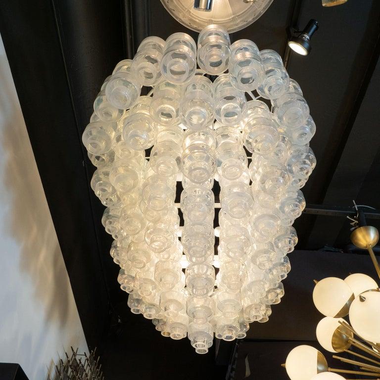 Modernist Custom Oblong Barbell Chandelier in Opalescent Hand Blown Murano Glass For Sale 1