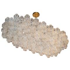 Modernistische benutzerdefinierte längliche Langhantel Kronleuchter in schillernde mundgeblasenem Muranoglas