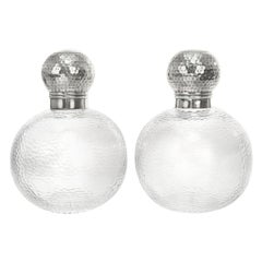 Modernist Cut Crystal and Sterling Decanters, circa 1892