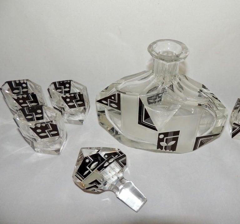 Art Deco Modernist Czech Decanter Set Glass For Sale