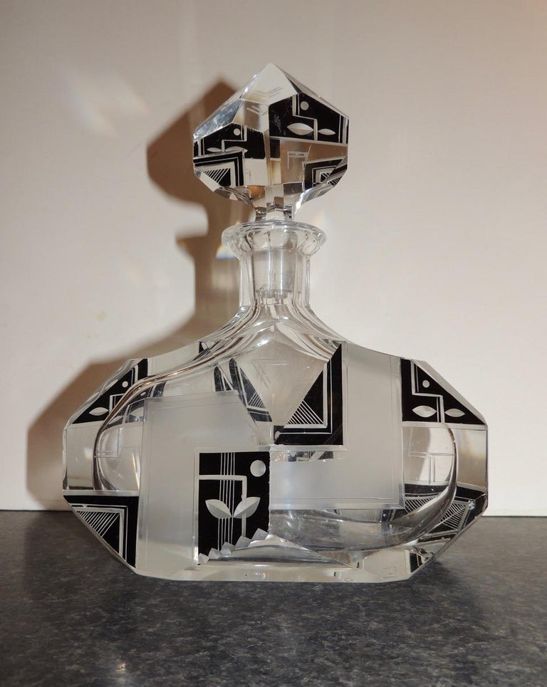 Modernist Czech Decanter Set Glass In Good Condition For Sale In Oakland, CA