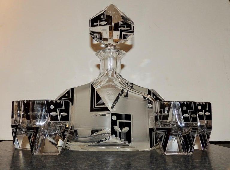Mid-20th Century Modernist Czech Decanter Set Glass For Sale
