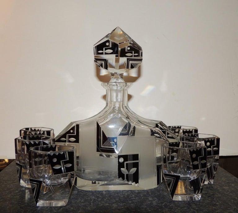 Crystal Modernist Czech Decanter Set Glass For Sale