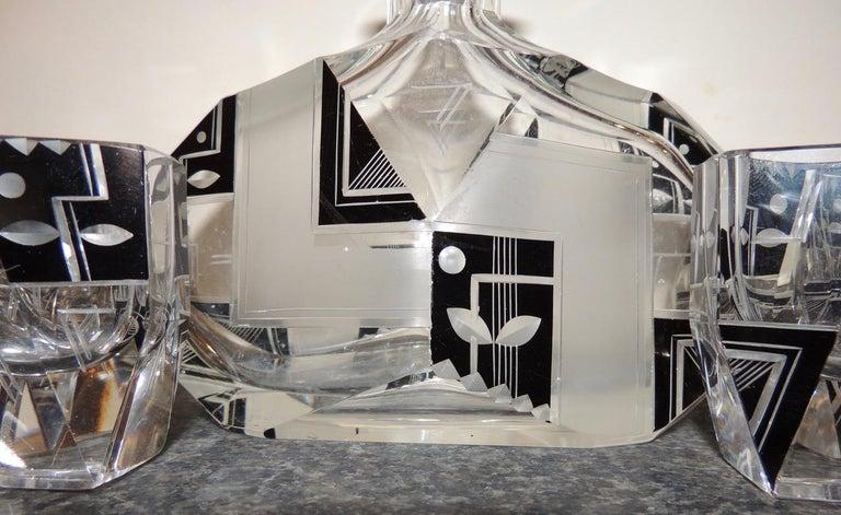 Modernist Czech Decanter Set Glass For Sale 1