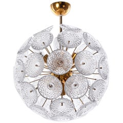 Modernist Dandelion 10-light Sputnik Chandelier Glass & Brass, 1960s