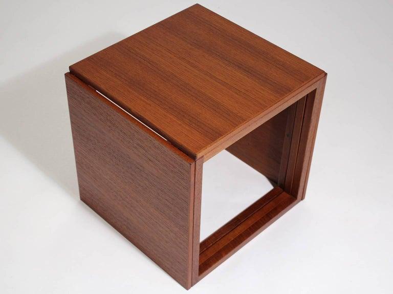 20th Century Modernist Danish Kai Kristiansen Teak Wood Modular Nesting Tables For Sale