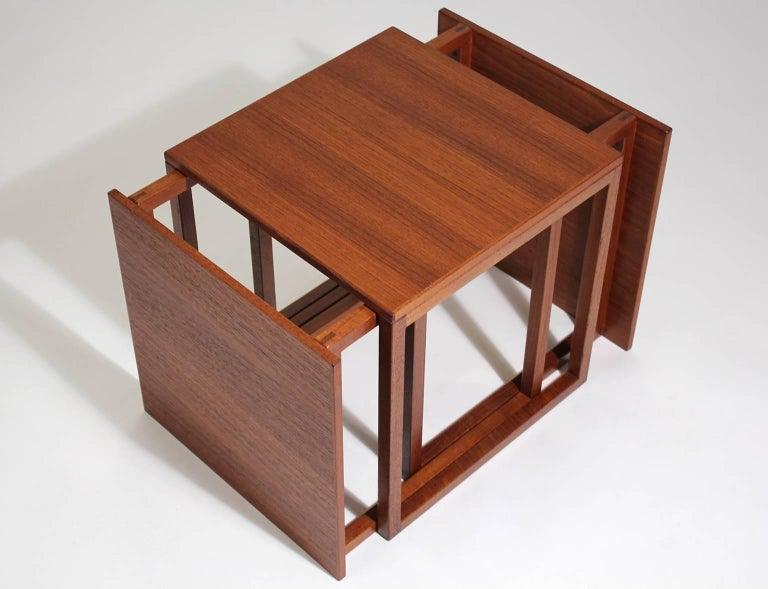 Modernist Danish Kai Kristiansen Teak Wood Modular Nesting Tables For Sale 1