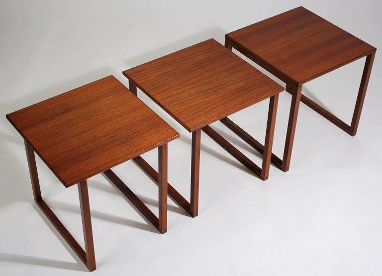 Modernist Danish Kai Kristiansen Teak Wood Modular Nesting Tables For Sale 2