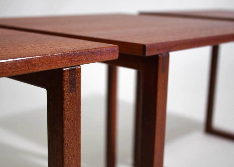 Modernist Danish Kai Kristiansen Teak Wood Modular Nesting Tables For Sale 3