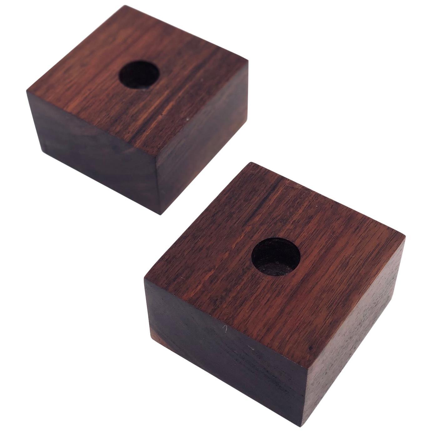 Modernist Danish Modern Solid Walnut Pair of Candleholders