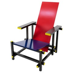 Modernist Design by Rietveld Red and Blue Chair, Cassina, 1990s