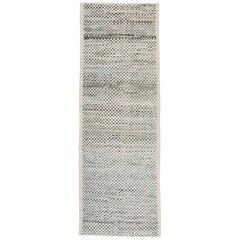 Modernist Design Textured Ivory and Blue Runner Rug in Scandinavian/Berber Style