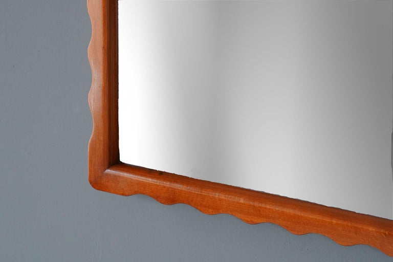 Swedish Modernist Designer, Wall Mirror, Stained Wood, Original Glass, 1950s, Sweden For Sale