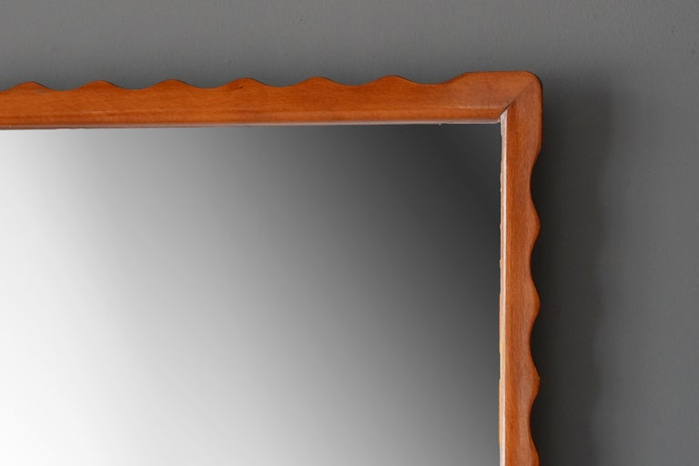 Modernist Designer, Wall Mirror, Stained Wood, Original Glass, 1950s, Sweden In Good Condition For Sale In West Palm Beach, FL