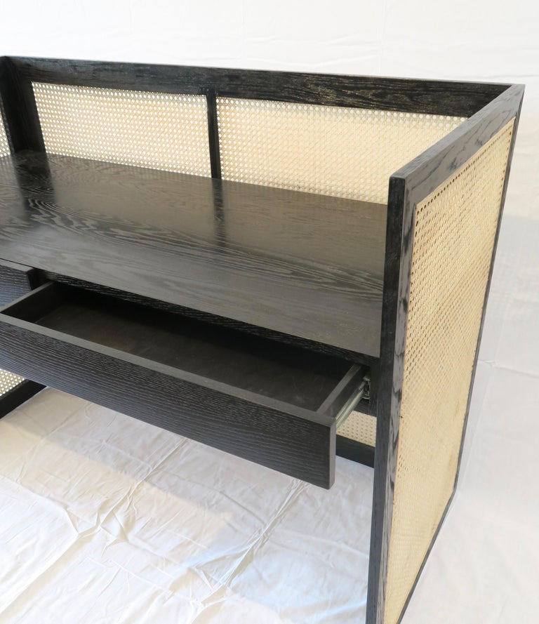 Modernist Desk in Ebony Oak with Cane Panels by Martin and Brockett For Sale 5