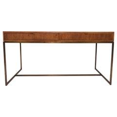 Modernist Desk in Walnut and Burl Parquet in Manner of Milo Baughman circa 1970s