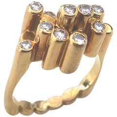 Modernist Diamond 1970s French Ring