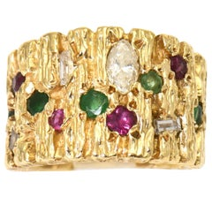 Modernist Diamond, Ruby, Emerald and Sapphire Gold Ring