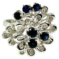 Modernist Diamond Sapphire 18 Karat White Gold Flower Form Cocktail Ring