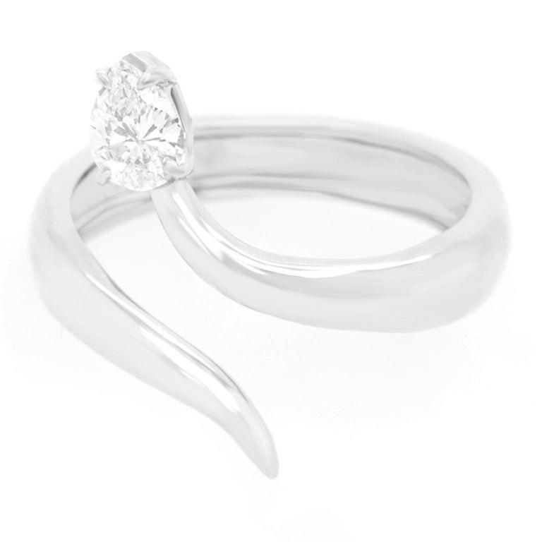 Pear Cut Modernist Diamond-Set Snake Ring For Sale