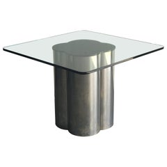 Modernist Dining Table with Steel and Glass after Brueton and C. Jere